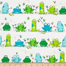 kanvas leap frog frog town white from fabricdotcom designed by