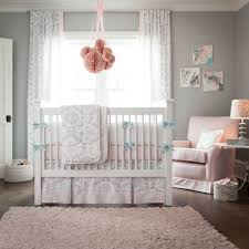 Pink Rug For Nursery White Wooden Baby Crib And Brown Rug On Ceramics Flooring Plus