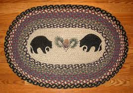 black bear print patch oval throw rug cabin place