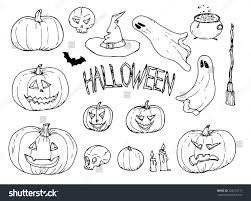 collection halloween hand drawn set vector stock vector 222274717