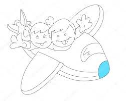 happy kids in plane sketch u2014 stock vector baavli 9872706