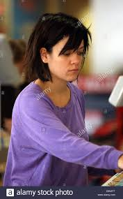 lily allen sporting a new bob haircut shops at an argos store