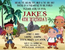 jake neverland pirates birthday party invitations personalized