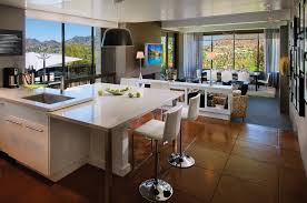 brown tile floor connected by white kitchen islands and double interior brown tile floor connected by white kitchen islands and double white barstools wth stainless