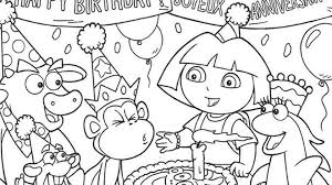 dora coloring pages for toddlers dora cartoon happy birthday coloring page site surprising pages