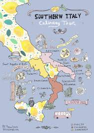 Naples Italy Map Italy Culinary Tour Southern Italy Illustrated Map Yaansoon