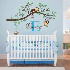 Nursery Owl Wall Decals And Boy Jungle Monkey Wall Decal Vinyl Nursery Wall Decor