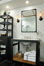 gym bathroom industrial with subway tile shelf surface mount