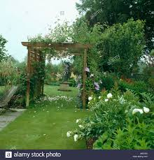 white peonies beside grass path through wooden pergola with pink