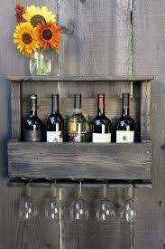 reclaimed wood rustic wine rack glass holder with shelf in dark