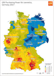 Data Map Map Of The Month Gfk Purchasing Power For Cosmetics Germany 2017