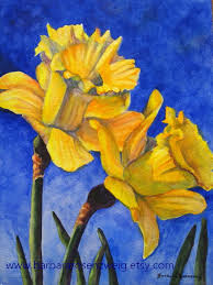 flower painting daffodil painting flower wall art flower