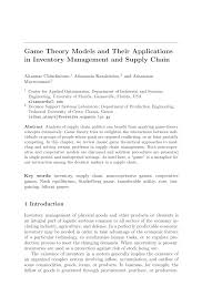 game theory models and their applications in inventory management