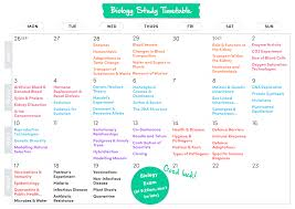 biology study timetable 2016
