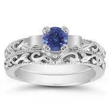 1 2 carat art deco sapphire bridal ring set 14k white gold