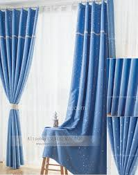 light blue blackout curtains for children with printing patterns