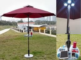 Sun Umbrella Patio Solar Sun Umbrella With Solar Panels Charger For Iphone Etc