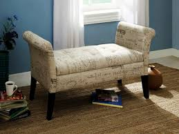 Bench With Rolled Arms Bench For Bedroom Acme Aston Microfiber Rolled Arm In Beige Also