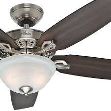 Ceiling Fan Manufacturers Usa 52 U0026 034 Hunter Fan Traditional Ceiling Fan In Brushed Nickel With