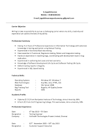 Testing Profile Resume Manual Testing Resume
