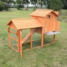 pawhut deluxe wood chicken coop nesting box backyard poultry hen