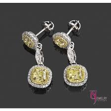 diamond dangle earrings 4 22 tcw yellow cushion cut diamond drop dangle earrings 18k white
