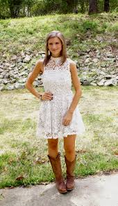 white lace dress with cowgirl boots dress and mode