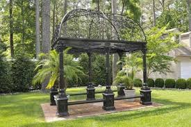 Wrought Iron Bench Seat Rectangular Victorian Style Garden Gazebo Cast Iron With Wrought