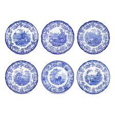 spode blue room zoological plates set of 6 assorted
