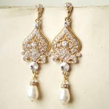 gold bridal earrings gold chandelier wedding earrings gold