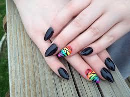 black gel nail claws u0026 rainbow zebra accent nail art polishes