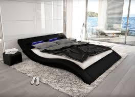 Schlafzimmer Betten Rund Wellenförmiges Lederbett Luxus Leder Bett Schwarz Weiß Mit Led