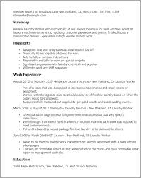 Maintenance Resume Examples by Professional Laundry Worker Templates To Showcase Your Talent