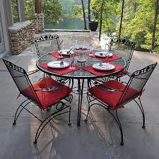 Black Patio Chairs Metal Furniture Round Black Wrought Iron Table With Four Chair Using