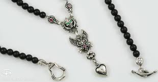 beaded silver necklace images Gabriella drop heart winged cross skull black onyx beaded silver jpg