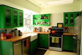 minimalist modern interior design small kitchen green that has