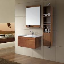 attractive wood wall mounted storages and wall mirror with shallow