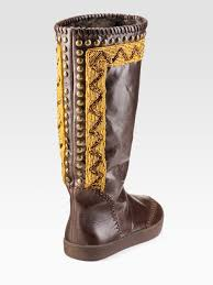 House Of Harlow 1960 Beaded House Of Harlow 1960 Beaded Fauxfur Lined Boots In Brown Lyst