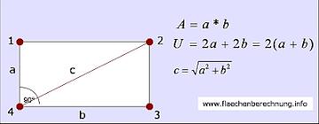rechteck fläche berechnen das rechteck diagonale flächeninhalt und umfang berechnen