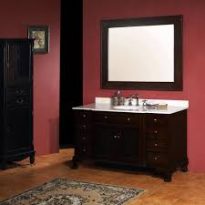 bathroom interior black wooden vanity with storage and drawers
