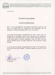 thanksgiving letter to employees appreciation letter from mustafa shopping centre why santhanaram