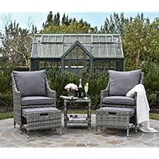 Gray Patio Furniture Sets Amazon Com Elle Décor Vallauris Outdoor 5 Piece Set Gray Wicker
