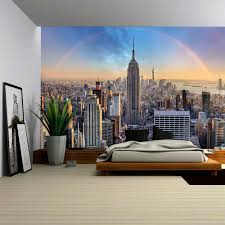 wall26 com art prints framed art canvas prints greeting wall26 new york city skyline with urban skyscrapers and rainbow removable wall mural self adhesive large wallpaper 100x144 inches