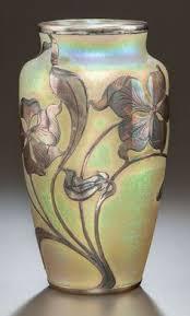 Glass Vase Art Loetz Art Nouveau Irridescent Glass Vase With Silver Overlay
