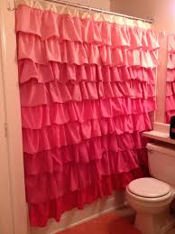 cute pink shower curtain with valance for teen bathroom ideas