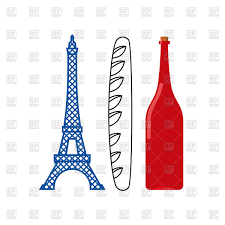 Image French Flag France Flag Of Eiffel Tower Crisp Baguette And Bottle Of French