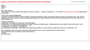 Estimate Work For Car by Supervisor Railroad Car Repair Offer Letter