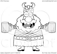 cartoon clipart of a black and white chubby drunk viking man