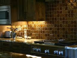 I Like The Idea Of A Gold Backsplash In A Coralred Kitchen - Brown tile backsplash