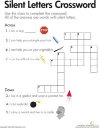 silent letters crossword worksheet education com